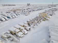Veículos cobertos de neve