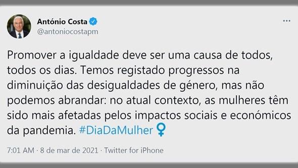 António Costa celebra Dia Internacional da Mulher com mensagem de apoio
