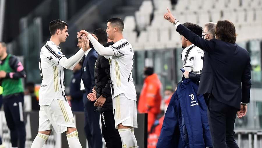Morata bisou ontem na partida antes de ceder o lugar a Cristiano Ronaldo