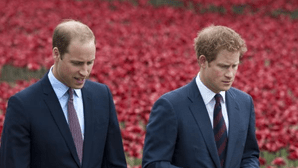 William e Harry lado a lado no funeral do avô