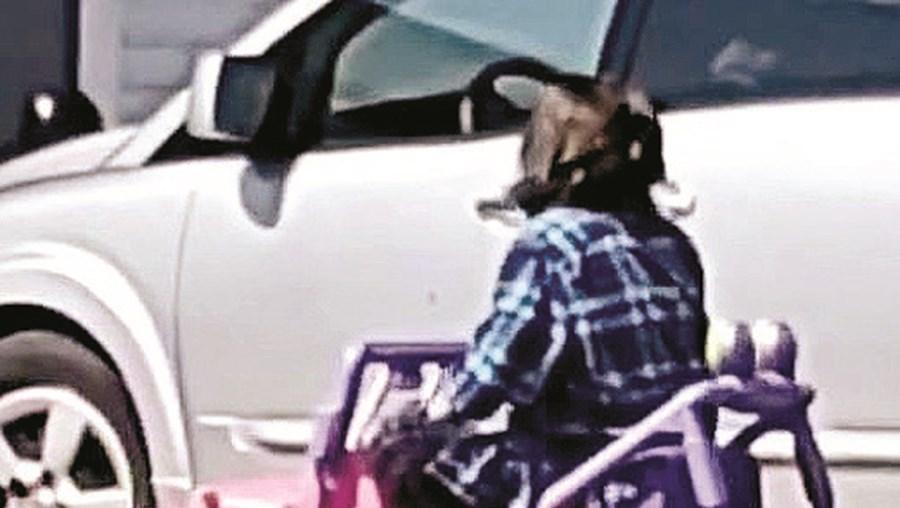 Mulher apanhada a circular em carrinho de criança em estrada nos EUA