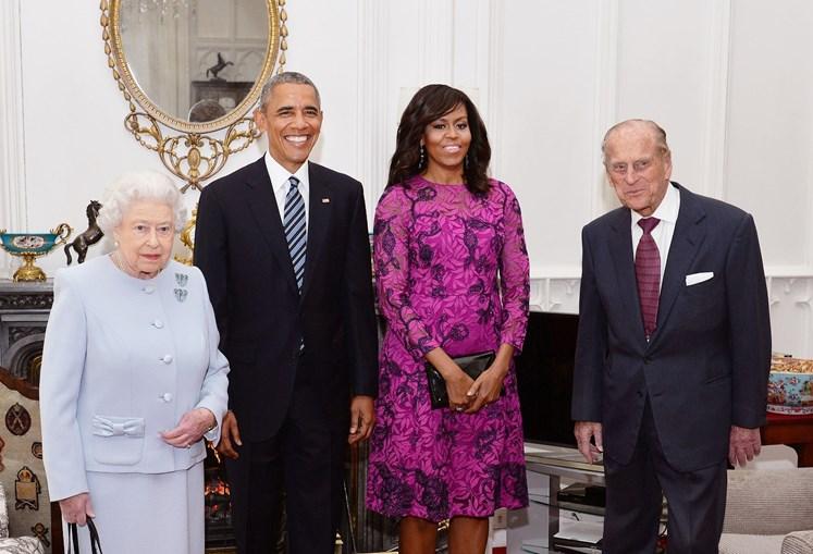 A rainha Isabel II e o Príncipe Filipe com Barack e Michelle Obama