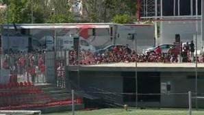 Adeptos benfiquistas apoiam equipa dentro das imediações do estádio