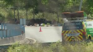 Camião frigorífico espanhol despista-se e tomba na ligação à A11 em Braga