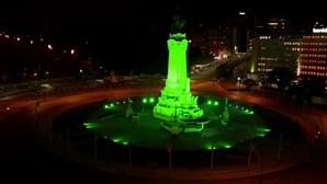 Marquês de Pombal pintado de verde para receber festa do Sporting. Veja em direto
