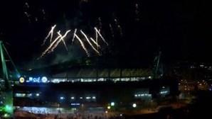 Espectáculo de fogo de artifício no Estádio de Alvalade