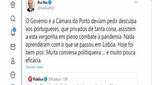 """""""Governo e a Câmara do Porto deviam pedir desculpa aos portugueses"""": Rui Rio critica ajuntamentos no Porto"""