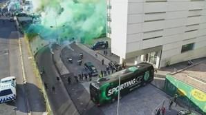 Chegada do autocarro do Sporting em Alvalade