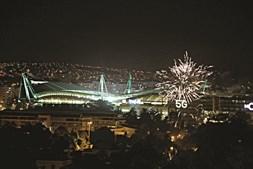 Apito final no estádio, festa em Alvalade. A conquista do título foi celebrada com fogo  de artifício. Uma onda verde que começou no relvado mas rapidamente se espalhou por todo o País