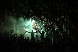 Festejos dos adeptos do Sporting