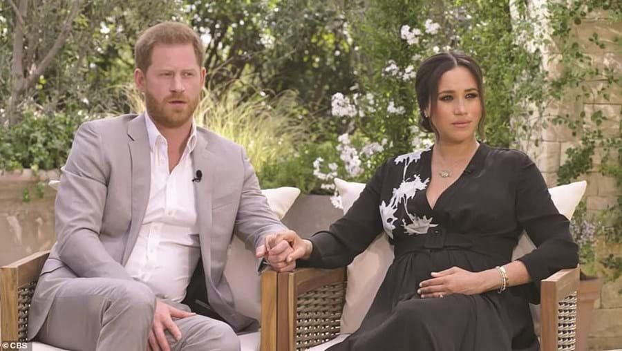 Harry e Meghan Markle em entrevista a Oprah Winfrey