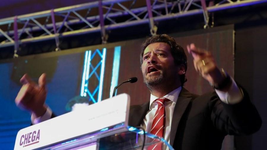 André Ventura durante intervenção na sessão de abertura do III Congresso Nacional do Chega