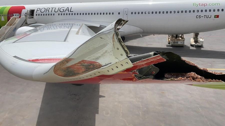 Avião da TAP retido na Guiné-Bissau após bater com asa em poste de iluminação