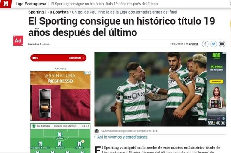 Jornal espanhol 'Marca' destaca Sporting campeão