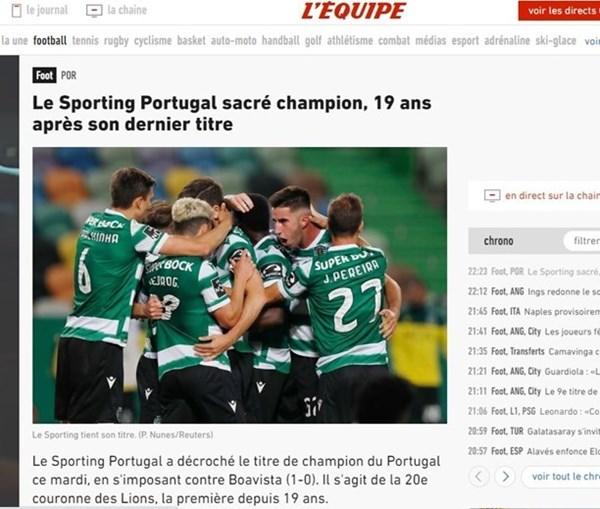 Jornal francês 'L'Équipe' destaca Sporting campeão