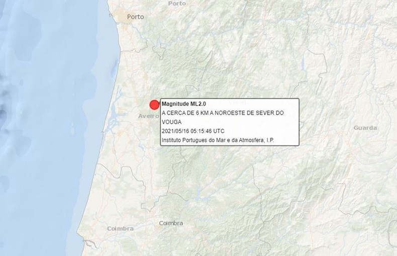 Sismo de 2.0 na escala de Richter sentido em Aveiro