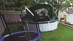 Carro invade jardim e destrói piscina