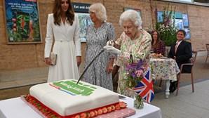 Rainha Isabel II usa espada para cortar bolo durante evento