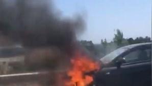 Incêndio destrói carro na A2 na Marateca. Veja as imagens