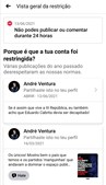 Conta de André Ventura suspensa