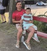 Lukas Cristiano com o pai