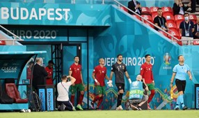 Seleção antes do jogo Portugal - França