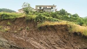 Socalcos foram rasgados por enxurrada de lama até ao rio Vez