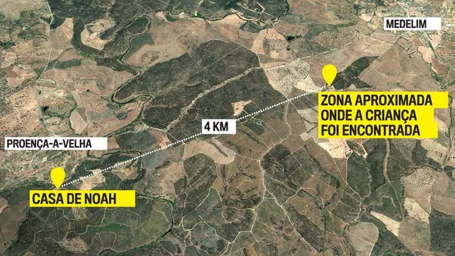 Mapa mostra área onde Noah foi encontrado