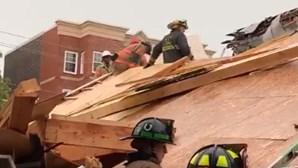 Desabamento de prédio faz quatro feridos em Washington DC, nos EUA. Há um trabalhador preso nos escombros
