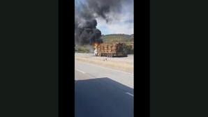 Incêndio consome camião com madeiras na A23, entre o Fundão e a Covilhã