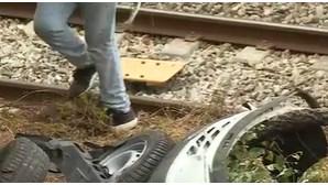 Homem sofre despiste de carro em Coimbra e cai na linha do comboio
