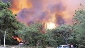 Turistas em pânico fogem para as praias à procura de resgate devido aos violentos incêndios na Turquia