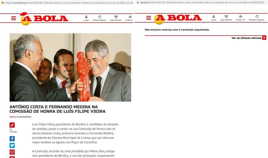 """""""A Bola"""" apaga do site notícias sobre apoio de Costa e Medina a Luís Filipe Vieira"""