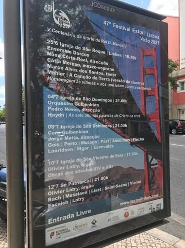 Festival Estoril Lisboa promovido com imagem da ponte Golden Gate em São Francisco