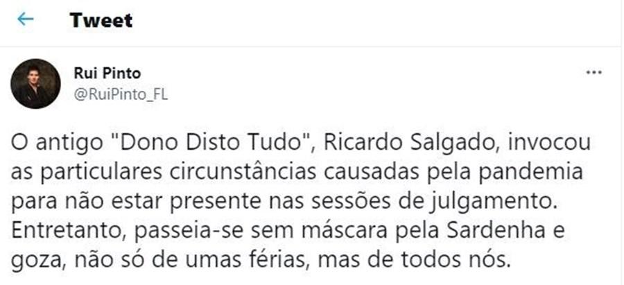 'Passeia-se sem máscara pela Sardenha e goza de todos nós': Rui Pinto critica férias de Ricardo Salgado