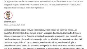 """Público apaga artigo de opinião de médico contra vacinação Covid-19 de crianças e alega """"erro de controlo editorial"""""""