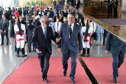 Marcelo Rebelo de Sousa na visita ao Palácio da Alvorada, Brasília onde se encontrou com Bolsonaro