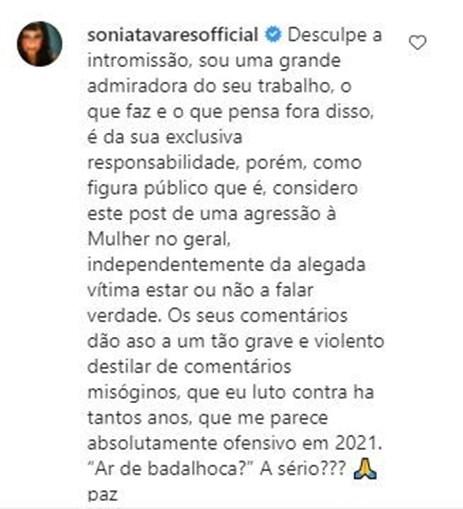 Comentário deixado por Sónia Tavares na publicação