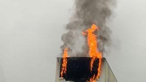 Incêndio em reboque de camião em Albergaria-a-Nova. Veja as imagens