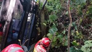 Bombeiros retiram autocarro que caiu em ribeira de Loures. Veja as imagens.