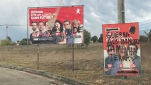 Material de campanha do BE vandalizado em Salvaterra de Magos
