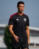 Cristiano Ronaldo esteve bem-disposto no primeiro treino pela equipa