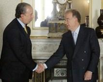 Jorge Sampaio e Santana Lopes no momento da renuncia