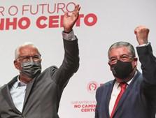 António Costa, secretário-geral do PS, com o candidato do partido em Coimbra, Manuel Machado