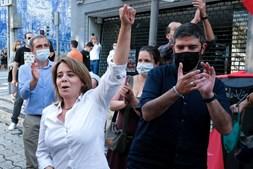 Líder do BE, Catarina Martins, em campanha na Baixa do Porto