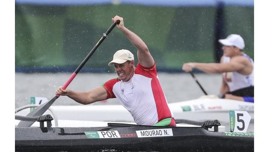 Norberto Mourão durante a prova de canoagem nos jogos Paralímpicos de Toquio