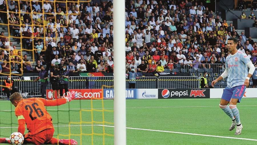 Momento em que Ronaldo faz o 1-0, após passe de trivela de Bruno Fernandes. Depois veio a reviravolta dos suíços