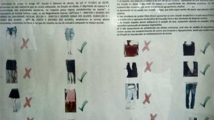 Escola na Amadora proíbe chinelos, calções e minissaias