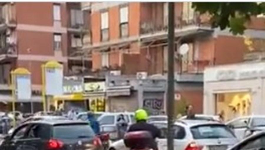 Javalis passeiam nas ruas de Roma.