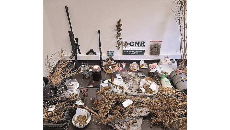 Droga e armas apreendidas pela GNR